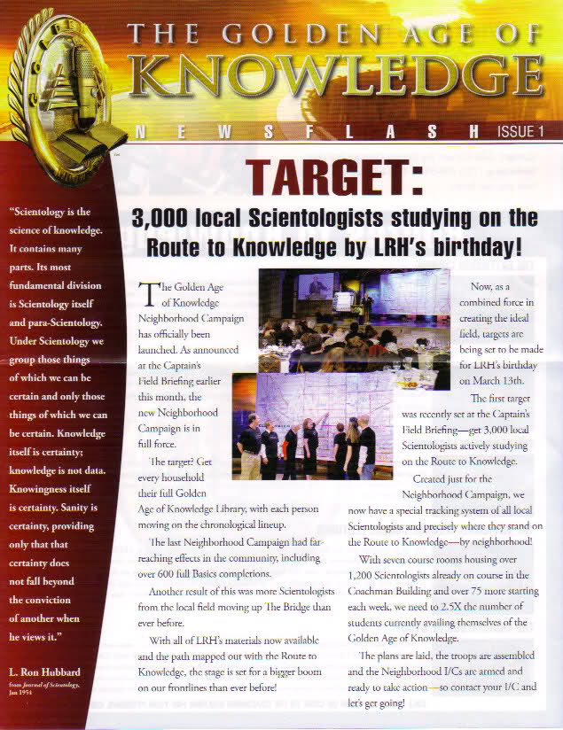 Newsletter: Target: 3000 Local Scientologists studying on ...