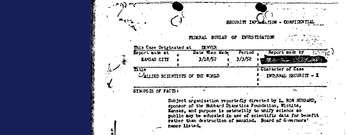 """Hubbard's """"Allied Scientists of the World"""" Scam (1951-1952)"""